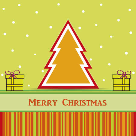 christmas card with tree and gift and snow Vector