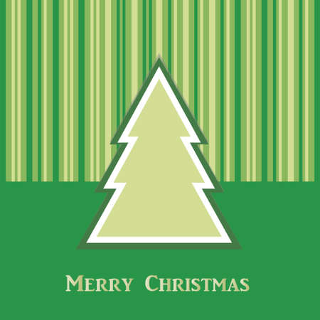 green Christmas card with tree and stripes