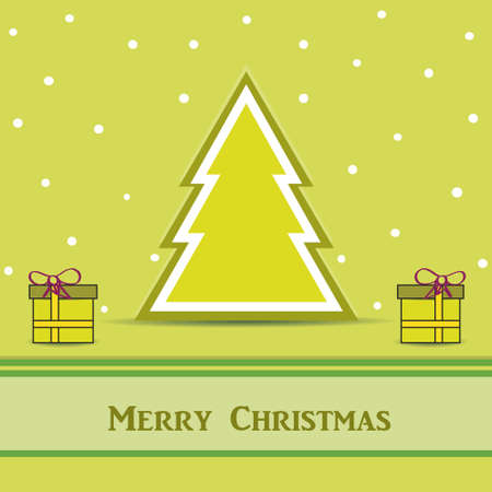 Green Christmas card with tree and gifts  Vector Eps10