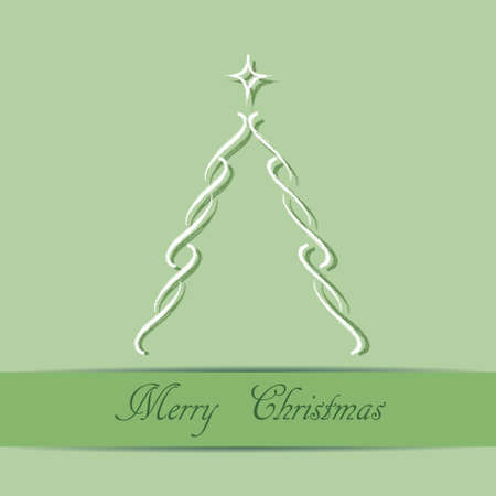 Christmas theme with Christmas tree on green background,  Vector
