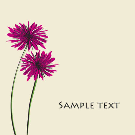 card with a blooming flower. Spring theme. Vector
