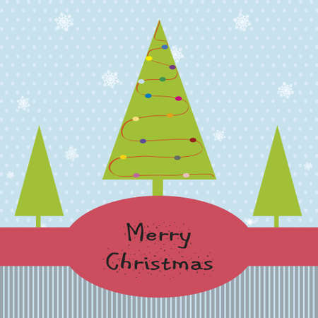 Christmas card with green card with ornaments.  Space for text Vector