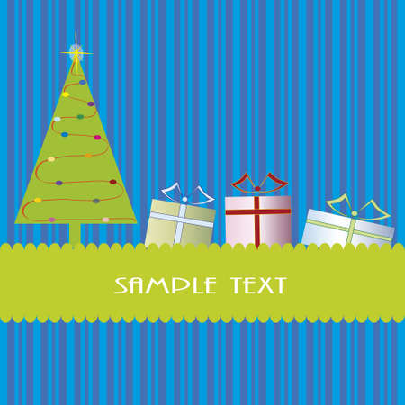 Christmas theme with Christmas tree and presents in a blue striped background