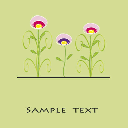 three flowers in a green background  Illustration