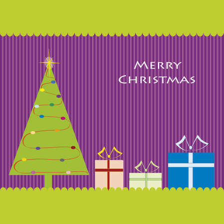 Christmas card with a Christmas tree and gifts. Vector EPS10
