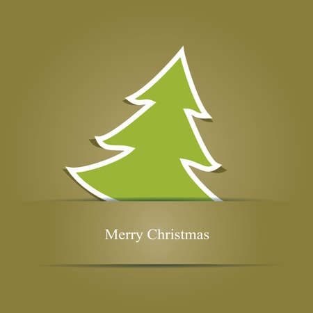 Christmas card with green Christmas tree