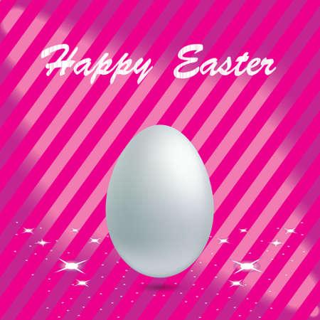 White Easter Egg in pink background Illustration