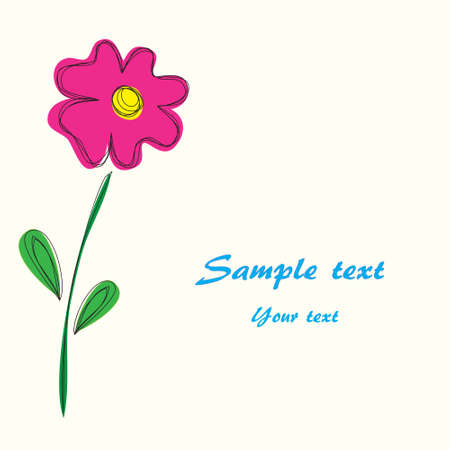 Spring card with one pink flower. Vector.
