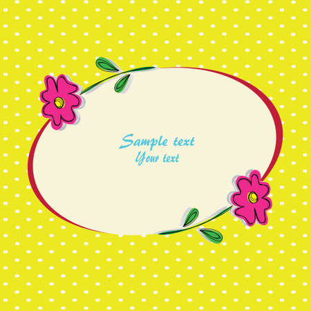 Greeting card with flowers on a green background with dots Illustration