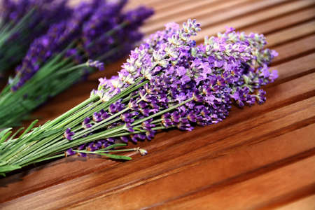 bunch of lavender flowers on the table Stock Photo