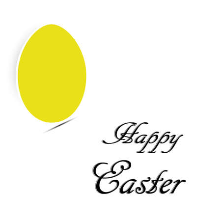 Easter card with yellow egg in white background. Illustration