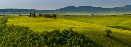 a small church in green fields of tuscany photo