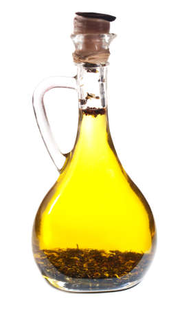 A bottle of a olive oil  on a white background photo