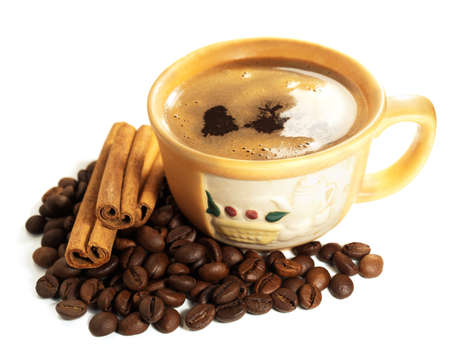 cinammon: Cup of coffee with cinammon on a white background Stock Photo