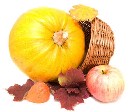Fall leaves, apples and pumpkin photo
