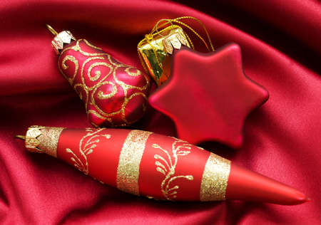 Christmas design with baubles and satin photo