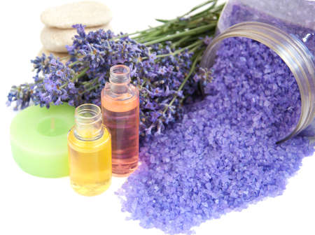lavender bath salt, cosmetics and  fresh lavender on  a white background photo