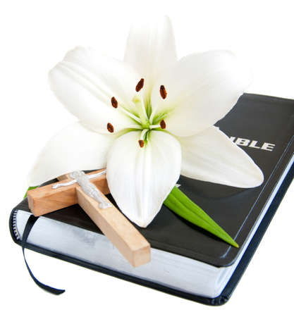 bible and cross: Easter Lily and Bible on a white background Stock Photo