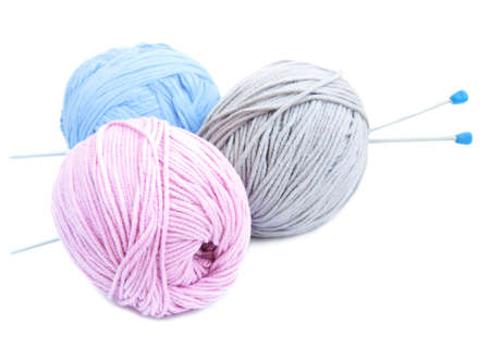 yarn balls with needles on a white background Stock Photo - 15426057