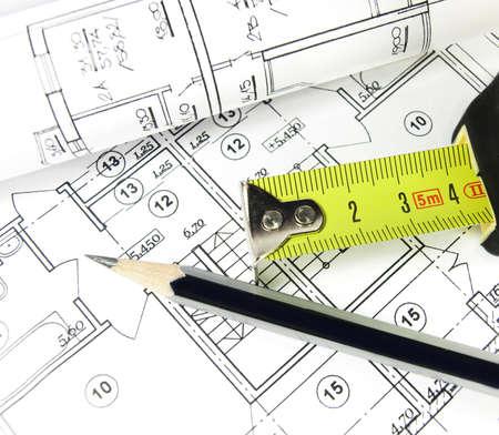 architecture plans: House architecture plan on paper