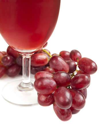 Glass of Red Grape Juice on a white background photo