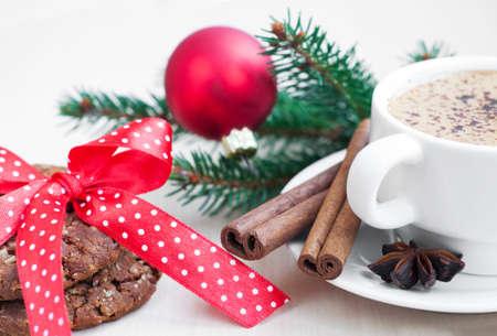 chocolate cookie: Copa de Navidad en el fondo capuchino vacaciones