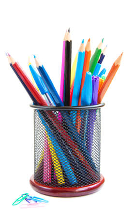 Color pencils and pens in  metal vase on a white background Stock Photo - 16562435