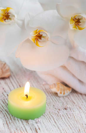 Still-life with bath  accessories with  orchid and candle photo