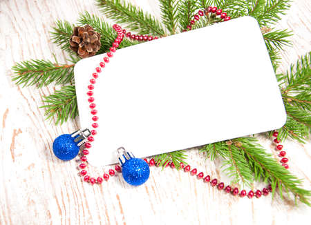 blank christmas card or invitation with decorations stock photo 16650123