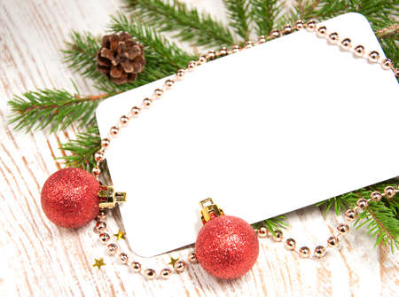 blank christmas card or invitation with decorations stock photo 16650122