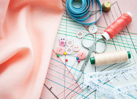 Accessory of the tailor - sewing background photo