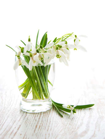 Bouquet of snowdrop flowers in  vase on a old wooden background photo