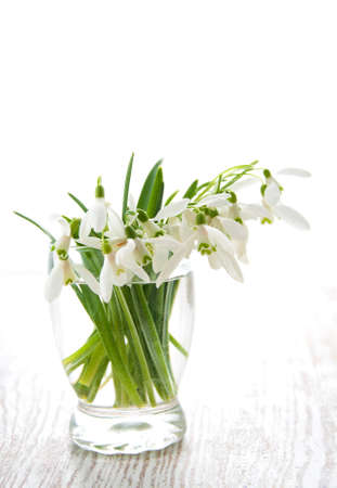Bouquet of snowdrop flowers in  vase, on a old wooden background photo