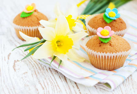 fresh handmade  sweet muffins cakes - still life photo