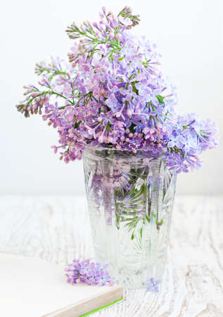 Bouquet of a lilac in a vintage vase and old book photo