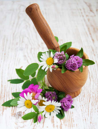 Wild flowers and herbs in an  wood mortar with pestle photo
