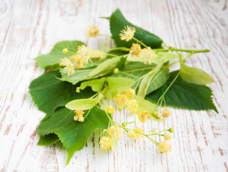 linden flowers with leaves on a wooden background photo