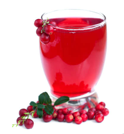 Glas Obst Preiselbeeren trinken auf weißem Hintergrund Lizenzfreie Bilder