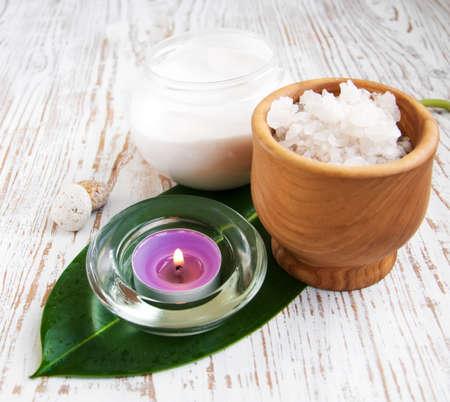 bathsalt: wellness products -  candle, cream and bath-salt Stock Photo