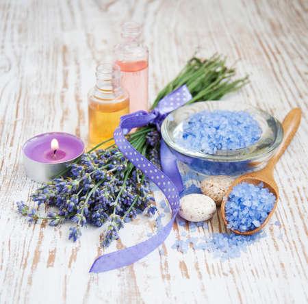 bathsalt: wellness products -  candle, lavender and bath-salt