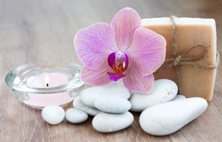 hygien: Natural handmade Herbal Soap with Orchid Stock Photo