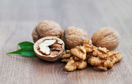 Walnuts   on a wood