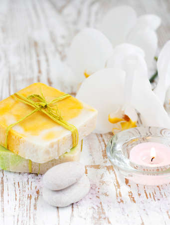 Natural handmade Herbal Soap with White Orchids photo