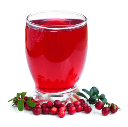 glass of Fruit cranberries drink on a white
