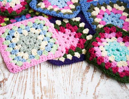 Gestrickte Details Für Crochet Decken - Oma-Quadrate Lizenzfreie ...