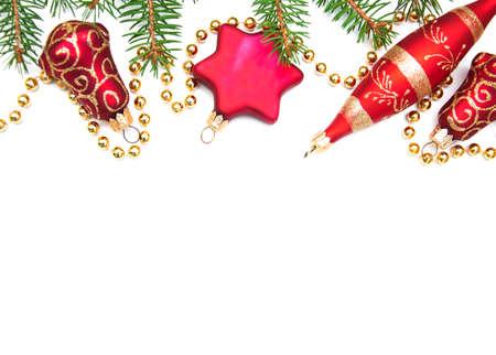 campanas de navidad: Red adornos navideños sobre un fondo blanco