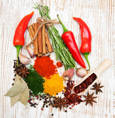 food additives: Spices and herbs variety. Aromatic ingredients and natural food additives.