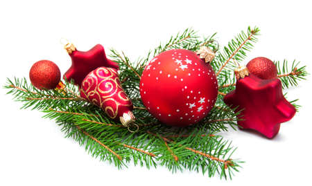 Christmas Pine and Bauble on a white background photo