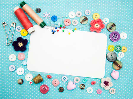 large group of items: Accessory of the tailor - sewing background