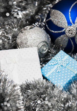 Christmas bauble, gifts and silver  Metallic Garland photo
